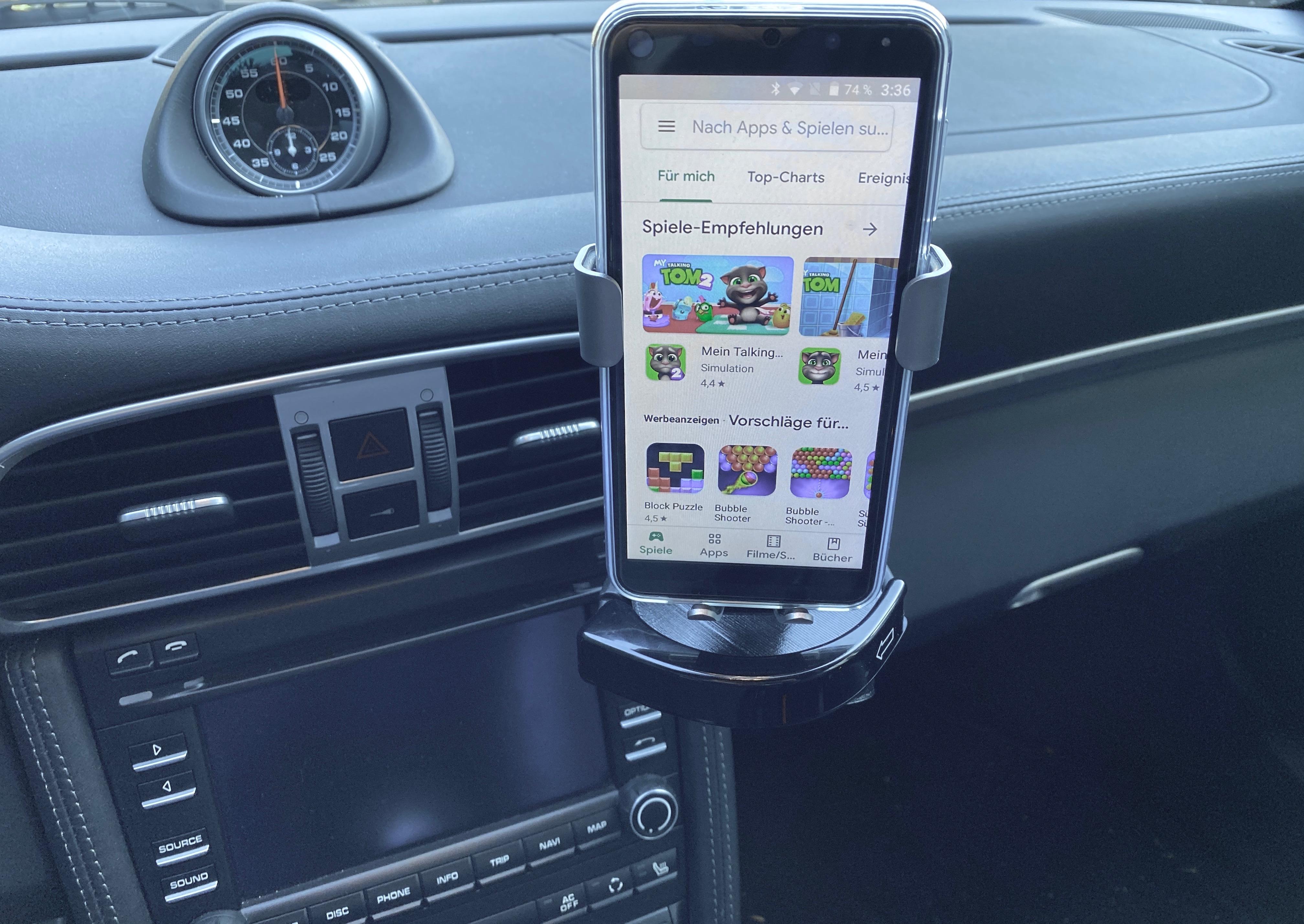 Handy Halterung für Induktionspad passend für Porsche 986/987/997/991/992/981/usw.